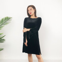 Dress Spring 2020 black S,M,L,XL,2XL,3XL Mid length dress singleton  Long sleeves commute One word collar Solid color other routine Type H 30% and below