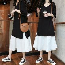Dress VSETAMELLE black 50. XL, XXL, XXXL, XXL Korean version Short sleeve Medium length summer V-neck Solid color cotton vs1869371634