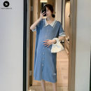 Dress VSETAMELLE blue M,L,XL,XXL leisure time Short sleeve Medium length summer Lapel Solid color knitting vs1654198498