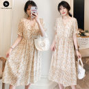 Dress other Yellow, apricot M. L, XL, XXL, XXXL, increase XXXL Korean version Short sleeve Medium length summer V-neck Decor