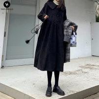 Dress VSETAMELLE black M,L,XL,XXL,XXXL Korean version Long sleeves Medium length Lapel Solid color nylon vs5465409