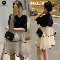 Dress other Picture color M. L, XL, XXL, XXXL, increase XXXL Korean version Short sleeve Medium length summer Crew neck other