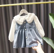 suit Other / other Lace shirt top , Denim dress , Lace top + Denim dress 80cm,90cm,100cm,110cm,120cm,130cm female spring and autumn leisure time routine Single breasted Three months, six months