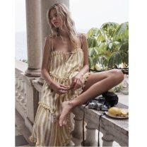 Dress Spring of 2018 Lemon yellow (see detail) S,M,L Mid length dress singleton  Sweet Loose waist Socket Irregular skirt camisole Lace up, stitching BX8267 More than 95% polyester fiber Bohemia