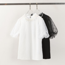 T-shirt White, black 36S,38M,40L,42X L Spring 2021 Short sleeve stand collar Self cultivation Regular puff sleeve commute Cellulose acetate 71% (inclusive) - 85% (inclusive) Solid color Yiwuqi 48-6790