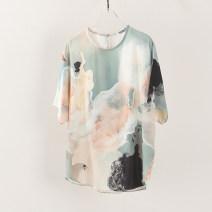 shirt green S,M,L,XL Spring 2021 silk 81% (inclusive) - 90% (inclusive) Short sleeve commute Regular Crew neck Socket Bat sleeve Yiwuqi 413-818621 printing