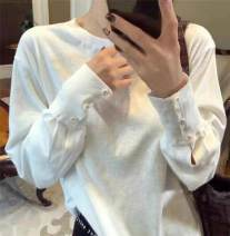 T-shirt White, black S,M,L,XL Spring 2021 Long sleeves Crew neck easy Regular routine commute cotton 96% and above Simplicity youth Solid color Yiwuqi 39-020110 Button