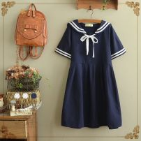 Dress Summer of 2019 Off white, Navy, with shorts inside Average size singleton  Short sleeve Sweet middle-waisted Socket Big swing routine Type A other Mori