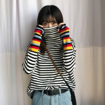 Wool knitwear Autumn of 2018 One size fits all, XXS pre-sale White, black Long sleeves singleton  Socket acrylic fibres More than 95% Regular routine commute easy High collar routine stripe Socket Korean version 18-24 years old Splicing