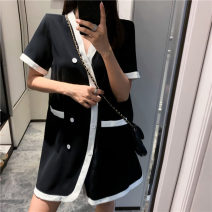 Dress Summer 2020 black Miniskirt singleton  Short sleeve commute V-neck Loose waist other double-breasted other routine Others 18-24 years old Type H Other / other Pocket, button