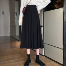 skirt Autumn 2020 Miniskirt commute High waist A-line skirt Solid color Type A 18-24 years old Other / other fold Korean version