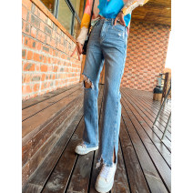 Jeans Spring 2021 Denim blue S,M,L,XL trousers Natural waist Straight pants routine 25-29 years old Worn out, zippers, buttons, multiple pockets light colour HC2006