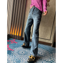Jeans Spring 2021 Picture color XS,S,M,L,XL,2XL trousers Natural waist Wide legged trousers routine 25-29 years old Zipper, button, multiple pockets Dark color