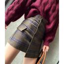 skirt Autumn 2020 M,L,XL Grey lattice, coffee lattice Short skirt commute High waist A-line skirt lattice T-type 25-29 years old H-RT7100 Other / other Pocket, button, zipper Korean version