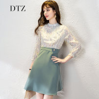 Dress Spring 2021 Green purple S M L XL Middle-skirt singleton  three quarter sleeve street stand collar High waist Decor zipper A-line skirt routine Others 25-29 years old D.T.Z More than 95% polyester fiber Polyester 100% Pure e-commerce (online only) Europe and America