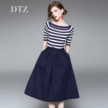 Dress Spring 2017 Navy (medium sleeve) Navy (long sleeve) S M L XL Mid length dress Two piece set elbow sleeve street One word collar middle-waisted stripe Socket Big swing routine Others 25-29 years old D.T.Z Pocket stitching zipper DLY417 31% (inclusive) - 50% (inclusive) nylon Europe and America