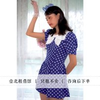 Dress Summer 2020 Blue and white S spot, m spot Mid length dress singleton  Short sleeve Sweet Doll Collar High waist Dot zipper Lantern skirt puff sleeve Others 18-24 years old Type X Bow, print More than 95% other polyester fiber
