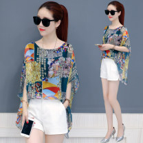 Lace / Chiffon Summer of 2018 Black leaves iron tower mosaic Lily butterfly crane S M L XL XXL XXXL Short sleeve commute Socket Fake two pieces easy Medium length Crew neck Decor Bat sleeve 30-34 years old Miouxiu MOX-X3316 Printing screen Korean version 96% and above Polyester 100% polyester fiber