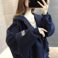 Sweater / sweater Winter 2020 Dark Red Navy Average size Long sleeves routine Cardigan singleton  Plush Hood easy commute routine Solid color 18-24 years old 96% and above Chevensie Korean version other Pocket stitching zipper Other 100% Pure e-commerce (online only) zipper