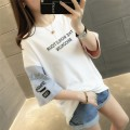 T-shirt Black white rubber red light pink sky blue light pink black character ECG white ECG Brown ECG light pink S M L XL Spring of 2019 elbow sleeve Crew neck easy Regular routine commute other 96% and above 18-24 years old Korean version originality Color matching of letters Chevensie XFX19065