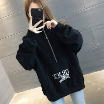 Sweater / sweater Autumn of 2019 Average size Long sleeves routine Socket singleton  thickening stand collar easy commute routine Solid color 18-24 years old 96% and above Chevensie Korean version other Kangaroo pocket embroidered zipper Other 100% Pure e-commerce (online only) zipper