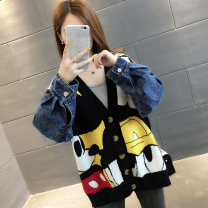 Wool knitwear Autumn of 2019 Average size Black light grey Khaki Long sleeves singleton  Cardigan other More than 95% Regular thickening commute easy V-neck routine Cartoon animation Single breasted Korean version XFX191547 18-24 years old Chevensie Embroidered stitching button Other 100%