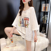T-shirt Black white black and white Average size Summer 2020 Short sleeve Crew neck easy Regular routine commute other 96% and above 18-24 years old Korean version youth letter Chevensie XFX4787 Print stitching Other 100% Pure e-commerce (online only)
