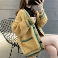 Wool knitwear Autumn of 2019 Average size Long sleeves singleton  Cardigan other More than 95% Medium length thickening commute easy V-neck routine Color matching Single breasted Korean version 18-24 years old Chevensie Other 100% Pure e-commerce (online only)