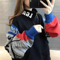 Sweater / sweater Winter of 2019 Black orange Beige purple sleeve Beige orange Plush black Plush Beige Plush Average size Long sleeves Medium length Socket singleton  thickening stand collar easy commute routine Color matching 18-24 years old 96% and above Chevensie Korean version other Other 100%