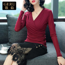 T-shirt Black red S M L XL XXL XXXL Autumn of 2019 Long sleeves V-neck Self cultivation Regular routine commute nylon 96% and above 30-34 years old Simplicity other Geru G17026A Polyamide fiber (nylon) 100% Pure e-commerce (online only)
