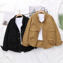 short coat Autumn of 2018 Single code Khaki black Long sleeves routine routine singleton  Straight cylinder routine stand collar Single breasted Solid color 18-24 years old Yousha 96% and above YS-01199 other Other 100% Pure e-commerce (online only)