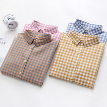 shirt Pink, yellow, coffee, blue S M L XL Fall 2017 cotton 96% and above Long sleeves commute Regular Polo collar Single row multi button routine lattice 18-24 years old Straight cylinder Yousha Korean version Cotton 100% Pure e-commerce (online only)