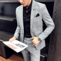 man 's suit Fashion City Ice flash routine ztxooLzx Flax 100% Winter of 2019 A single breasted button Self cultivation Other leisure Back middle slit youth Long sleeve Four seasons routine tide Formal dress Flat lapel Slant hem lattice Regular collar (collar width 7-9cm) Polyester viscose Assembly