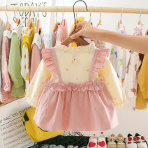Dress female Other / other Within 3-6 months of 66cm for size 73, within 6-12 months of 70cm for size 80, within 1-2 years of 80cm for Size 90, within 2-3 years of 90cm for size 100 Cotton 100% spring and autumn princess Long sleeves Dot cotton A-line skirt Baby girl long sleeve dress Class A