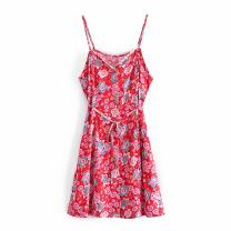 Dress Summer 2021 gules S,M,L Short skirt singleton  Sleeveless street other middle-waisted Broken flowers Socket A-line skirt routine camisole Type A WHLP Print, Sequin A-60490 More than 95% other other Europe and America
