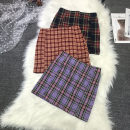 skirt Summer 2020 S,M,L Purple, red, black and white, pink, pink, orange, red and blue Short skirt street High waist A-line skirt lattice Type A 18-24 years old Z-829 Europe and America