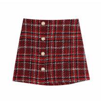 skirt Spring 2021 XS,S,M,L gules Short skirt commute High waist A-line skirt lattice Type A 11-3193 71% (inclusive) - 80% (inclusive) other WHLP polyester fiber Button Retro