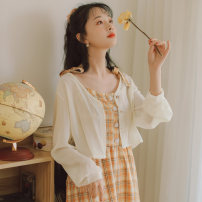 short coat Summer 2020 S M L XL Apricot white Long sleeves have cash less than that is registered in the accounts Thin money singleton  Shawl type Versatile routine other Single breasted Solid color 18-24 years old Beautiful dream 96% and above Button MMJXW3641 other Other 100%