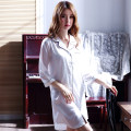Nightdress Enchantment M L XL XXL Simplicity Short sleeve pajamas Middle-skirt summer Solid color youth Shirt collar Polyester (polyester) One piece More than 95% silk SQZ006 200g and below Spring of 2018 New polyester fiber 95% polyurethane elastic fiber (spandex) 5% Pure e-commerce (online only)