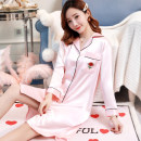 Nightdress Enchantment 160(M) 165(L) 170(XL) 175(XXL) sexy three quarter sleeve Leisure home Middle-skirt spring letter youth Shirt collar Polyester (polyester) Embroidery More than 95% polyester fiber SQZ032 200g and below Summer of 2019 Polyester 95% polyurethane elastic fiber (spandex) 5%