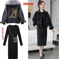 Nursing clothes S,M,L,XL,2XL,3XL Other / other Front buckle winter Long sleeves Medium length Versatile Dress Solid color Lift up polyester cotton