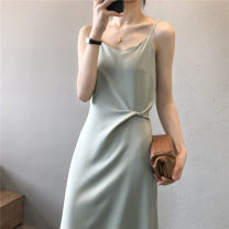Dress Summer 2021 Black (80126) Pearl White (80126) bean green (80126) apricot (80126) M L longuette singleton  Sleeveless commute V-neck High waist Solid color Socket A-line skirt routine camisole 25-29 years old Type A QV (clothing) Ol style backless QV-G142536AAF More than 95% other Other 100%