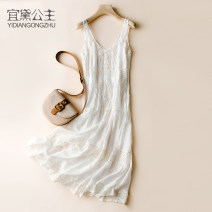 Dress Winter of 2019 white S M L XL Mid length dress singleton  Sweet V-neck Loose waist Solid color Socket 25-29 years old Princess Yidai Lace with fringes and cut-out gauze YDGZ05101 More than 95% other Other 100% Bohemia Pure e-commerce (online only)