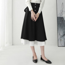skirt Autumn of 2019 XS/26 S/27 M/28 L/29 XL/30 2XL/31 black Mid length dress commute High waist A-line skirt Solid color Type A 25-29 years old More than 95% Qinyou polyester fiber Polyester 100% Pure e-commerce (online only)