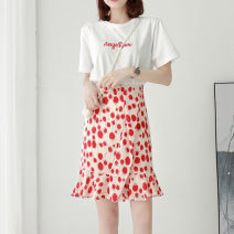 skirt Summer of 2019 XS/26 S/27 M/28 L/29 XL/30 2XL/31 Black red Middle-skirt commute High waist Ruffle Skirt Dot Type A 25-29 years old Qinyou Korean version Pure e-commerce (online only)