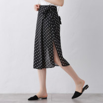 skirt Summer of 2019 XS/26 S/27 M/28 L/29 XL/30 2XL/31 black Mid length dress Versatile High waist Dot Type H 25-29 years old Chiffon Qinyou Pure e-commerce (online only)