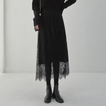 skirt Winter 2020 Average size Black apricot Mid length dress commute High waist A-line skirt Solid color Type A 25-29 years old More than 95% knitting Qinyou polyester fiber Korean version Polyester 100% Pure e-commerce (online only)