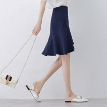 skirt Spring of 2019 XS/26 S/27 M/28 L/29 XL/30 2XL/31 Black blue Mid length dress commute High waist A-line skirt Solid color Type A 25-29 years old More than 95% Qinyou polyester fiber Asymmetric ruffles Korean version Polyester 100% Pure e-commerce (online only)