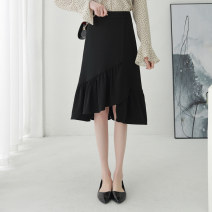 skirt Summer of 2019 XS/26 S/27 M/28 L/29 XL/30 2XL/31 Mid length dress commute High waist Irregular Solid color Type A 25-29 years old Qinyou Simplicity Pure e-commerce (online only)