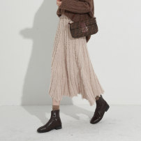 skirt Winter 2020 Average size Black apricot Mid length dress commute High waist Irregular Solid color Type A 25-29 years old More than 95% knitting Qinyou polyester fiber Retro Polyester 100% Pure e-commerce (online only)